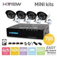 4CH CCTV System 4 Channel 960H HDMI MINI DVR 4PCS 700TVL IR CCTV Camera 24LEDs 500 GB HDD Security System Surveillance Kits