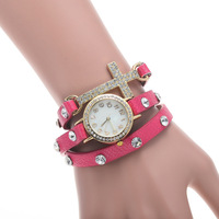 2014 Hot! New Listing Korean Fashion Simple Cross Inlaid Rhinestones Long Leather Quartz Watches Women Dress Watch
