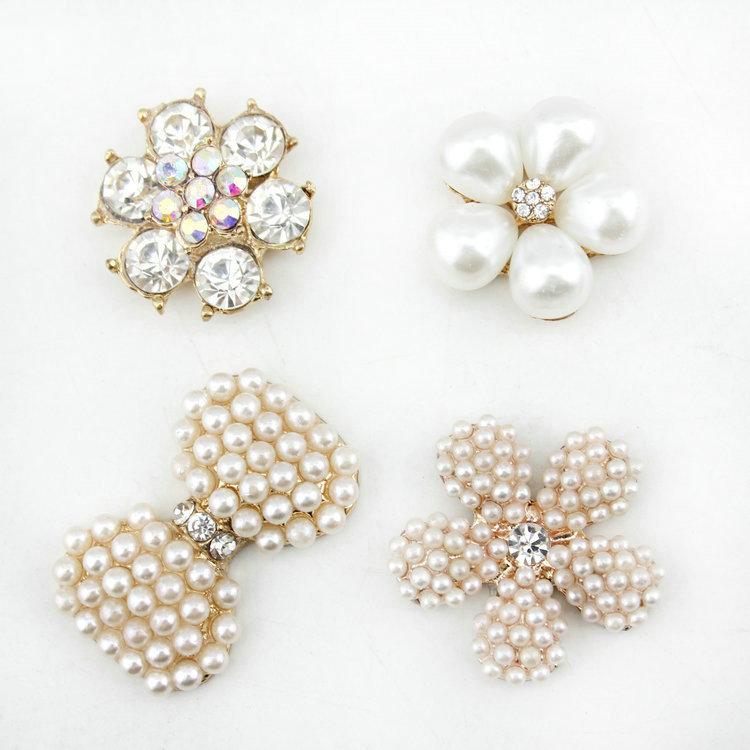 4 designs metal pearl rhinestone button flatback for Hair Flower Wedding pearl embellishment free shipping(China (Mainland))