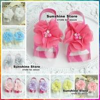 Sunshine store #2X0209 10 pair/lot (6 colors)BABY Boutique cute diamond/pearl Barefoot Sandals foot flowers prewalker shoes lace
