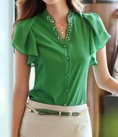 New 2014 Summer Fashion Leisure women shirt V-neck Flouncing short sleeve chiffon blouse S-XXL WF-521