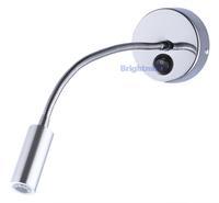 S025B SWITCH 3W Bridgelux Flexible arm light LED wall light LED reading light for bedroom hotel room LED bedside lamp