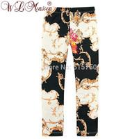 Hot Sale 2014 Italy new brand children floral pants, high quality baby girls leggings,designer kids girl pants leggings, 2-10Y