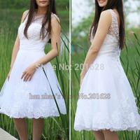 2014 New Arrival Luxury Pearls A-Line Wedding Dresses White/Ivory Knee-length Short Wedding Dress Hot Sale vestido de noiva