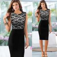 2014 TOP Quality  Women's Fashion Sexy Hit Color Lace Black party Dress Patchwork Clubwear Back Zipper cocktail dress