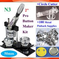 "Pro N3 NEW 2"" 50mm Badge Button Maker Machine + Adjustable Circle Cutter+100 Sets Metal Pinback Supply"
