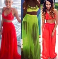 014 new female star dress, green in summer two Chiffon Dress Gown YQ018 swimwear