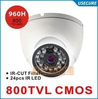 CCTV video Surveillance security Cameras CMOS 800tvl with IR CUT 960H 24pcs IR waterproof indoor dome camera white black option