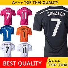 Free shipping Real Madrid 2015 Soccer Jersey 7 RONALDO 14 15 Black Dragon Pink Real Madrid Jersey Kroos James Football Shirt(China (Mainland))