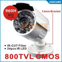 800TVL CMOS 960H IR CUT Filter 24pcs IR leds Day/night waterproof indoor / outdoor CCTV security camera system with bracket