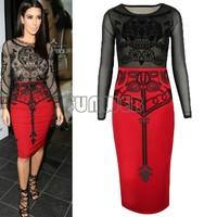 Women Dress 2014 , Plus Size Bandage Bodycon Ladies Work Wear Elegant Dresses Dress B6 SV002730