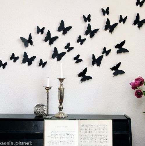 Wonderful Black Red White Art Design Decal Wall Sticker Home Decor Room Decorations 3D Butterfly(China (Mainland))