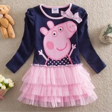 Varejo 2015 crianças do bebê meninas moda vestido 100% algodão peppa pig roupas infantis roupas para meninas tutu vestido(China (Mainland))