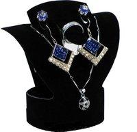 Black velvet jewelry set folding pendant necklace earring stud jewelry display stand holder