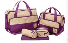 Fashion Mummy Bag For Baby Nappy Bags  7 Colors 5PCS/Set (Two separate bag free of charge)(China (Mainland))