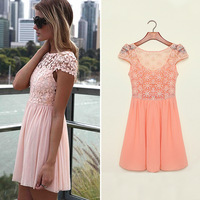 FanShou Free Shipping 2014 Summer Dress Women Dress Embroidery Lace Patchwork Tulle Pleated Crochet Girl Chiffon Dress 6180