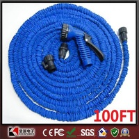 After Stretched Working Lenght 30M Plastic Connector 100FT Blue Garden Water Hose with gun