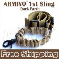 Armiyo 1st Gen Single Point Tactical Hunting Mission Sling Bungee Strap Hook Nylon Belt Sling Swivel Attach Mount Dark Earth