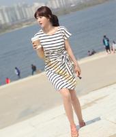 2014 New Fashion Hot Sale Women/Lady Summer Plus Size Striped Streak Bow Dress Casual Mini Short Sleeve Dress b4 SV004349