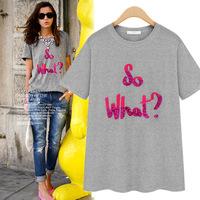 2015 NEW summer fashion women's rhinestones print 100% short-sleeve cotton round neck T-shirt female ZA** t shirt