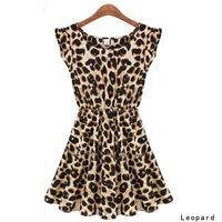 S-XL Hot Sale New 2015 Women Summer Fashion Casual Sexy Leopard Print Slim Fit One-Piece Dress J5585