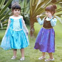 2014 frozen elsa anna princess character costume autumn long sleeve dress christening birthday party dresses anime cosplay kids