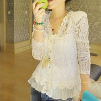 Women Shoulder Pad V Neck Lace Cardigan Stitching Hollow Blouse Shirt Precious Mosaic Lace Sunscreen Shirts Air-Conditioning
