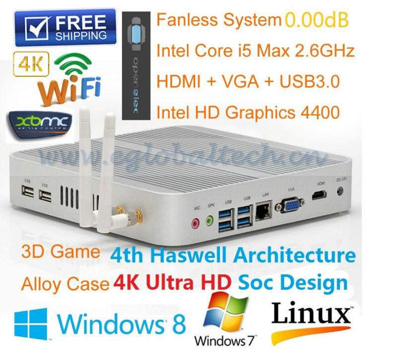 Alloy Case Fanless Mini PC Windows 8.1 4*USB 3.0 +1*HDMI Portable Host Mini Computer 4GB Ram 64GB SSD Core i5 1.6GHz Max 2.6GHz(China (Mainland))