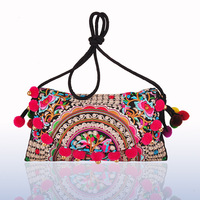 National Trend Fashion Embroidery Bag Double Face Embroidered Ball Shoulder Messenger Bag Women's Day Clutch Cover Handbag