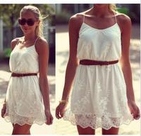 Free Shipping 2014 New Fashion Wholesale Women Casual Summer Dress Lace Floral Spaghetti Strap Bandage Mini Vestidos White D02