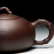Wide Xishi engraved Bamboo Yixing Purple Clay Purple Sand Teapot Handmade Crafts Ceramic Tea pot 160ml