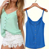 2014 New Brand Summer Sexy Lady Women Chiffon V-neck Tank Blouses Short Bottoming Shirts, 6 Colors, S, M, L, XL, 2XL, 3XL
