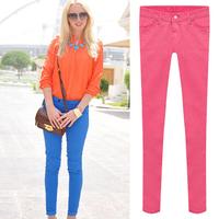 2014 Candy Color High Elastic Ladies Pencil Pants, Women Jeans