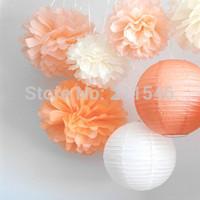 """15pcs mixed 3 sizes (4"""",6"""",8"""")  Tissue Paper Pom Poms Flower Balls, Wedding Pom Poms, Baby Shower, Nursery, Wedding Decoration"""