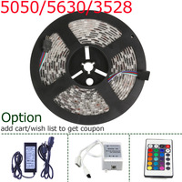 5M 12v SMD 300 leds Strips 3528/5050/5630 Waterproof/non waterproof Warm/Cold white /RGB 300leds LED Ribbon Rope Strip Lights