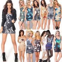 15 Colors!! Women's Plus Size Digital Printing Dress Stretch Bodycon Sleeveless Slim Fit Mini Tank Dresses Sundress B6 SV004584