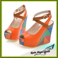 2014 Summer European Fashion Women's Wedges Sandals High Heels Platform Open Toe Ankle Straps Shoes Summer Pumps
