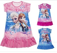 Fashion Girls Frozen clothes  Queen Elsa Anna dress Girls Children Kids cartoon princess dress 3-9Ys
