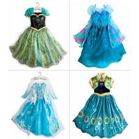 1pieces retail, summer dress 2014 Frozen Elsa Anna costume princess dress sequined cartoon costume Free shipping girls dresses.
