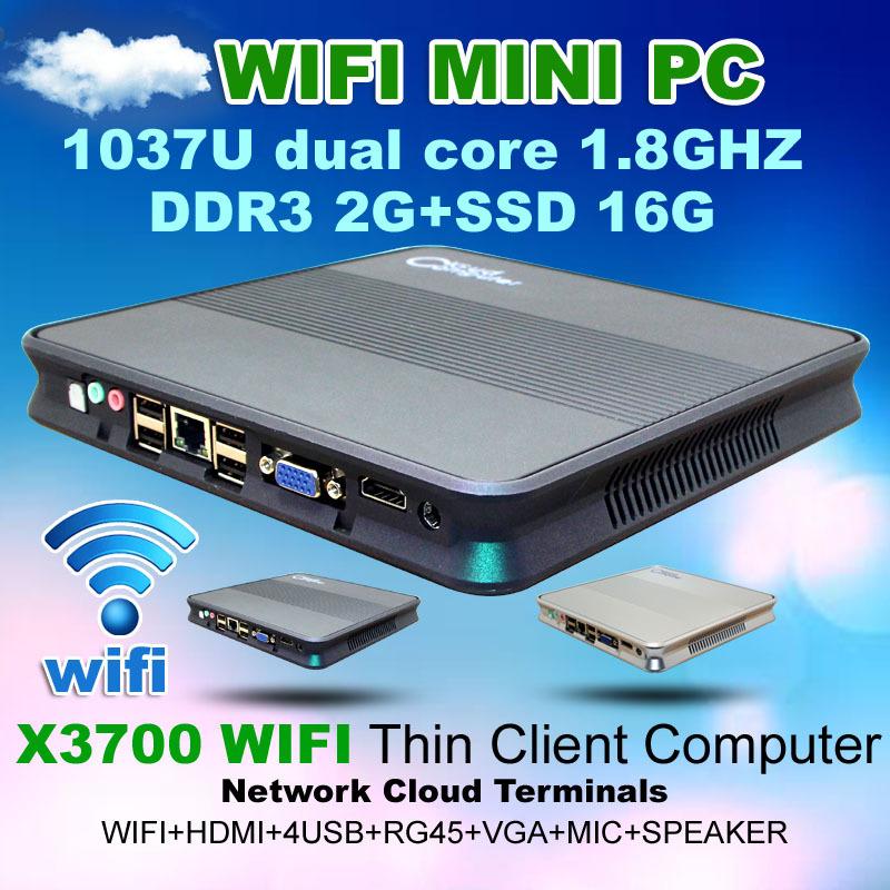 2G RAM 16GB SSD Mini PC X3700 Wifi Network cloud terminal Intel 1037U Dualcore 1.8GHz HD Graphics super Mini Desktop Computer(China (Mainland))
