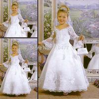 Cute White Lace Girls First Communion Dresses Ball Gown Long Sleeve HS069 Vestido de Daminha
