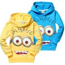 1pcs/lot 2014 despicable me 2 minion boys clothes, girls nova shirts,  child Spring hoodies Tops & Tee(China (Mainland))
