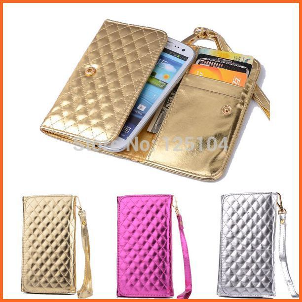 Universal glitter Leather women handbag Wallet Case for For sony xperia z2 LG G3 HTC one M8 wrist strip mobile phone bag (L)(China (Mainland))