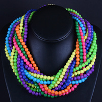New Arrival Women Gift Fashion Pure Handmade Multi-Chains of Acrylic Beads Chokers Chunky Beaded Necklace 4 Colors Free Shipping