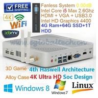 Intel Core I5 Mini Nettop Ultra Mini Computer With 4GB DDR3 64GB SSD 1TB HDD Support Ubuntu Linux ITX Aluminum Case 1080P Umpc