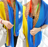 New Fashion Women Euro Brand Style Plaid Leopard Printed Big Size 180cm  Silk Scarf Flower Patchwork Colorful Long Shawls 2014