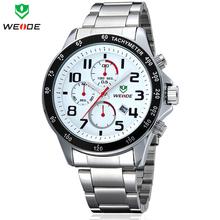 Nuevo WEIDE hombres de cuarzo reloj deporte militar relojes de marca de lujo calendario completo 3ATM famoso impermeable completo de acero reloj
