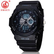 Nuevo Mens Boys deportes reloj de vestir Casual relojes 2 zona horaria de cuarzo Digital electrónica de LED impermeable militar relojes de pulsera negro