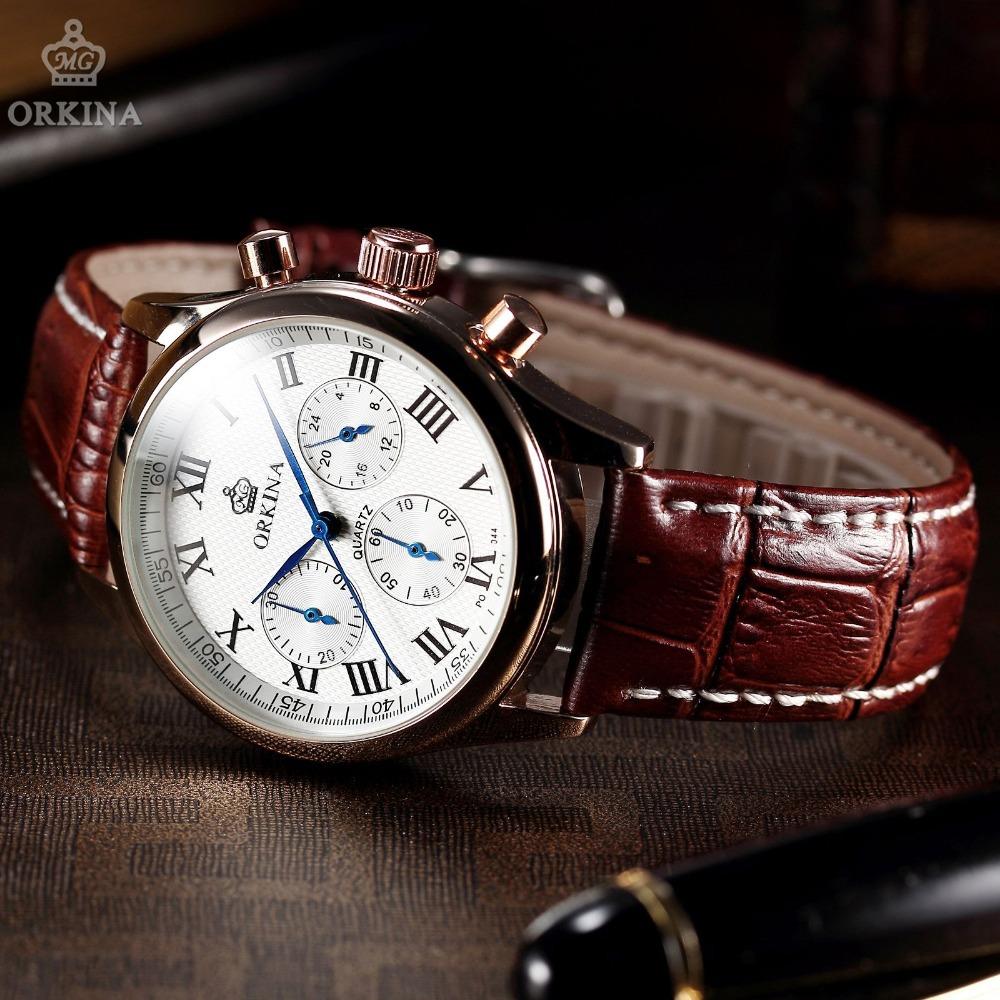 classic orkina 6 mens luxury brand watches golden