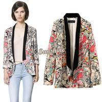 Vintage Women Boho Hippie Loose Style Floral Print Kimono Coat Cape Blazer Jacket New S/M/L B11 SV005042